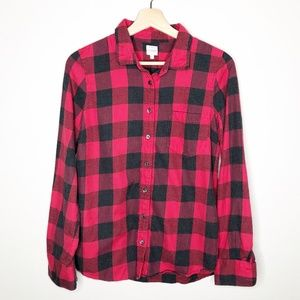 J. Crew Red Buffalo Checkered Flannel Button Up